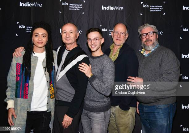 Actor Amber Whittington, filmmaker Fenton Bailey, figure skater Adam Rippon, filmmaker Randy Barbato and Alonso Duralde attend the Los Angeles...