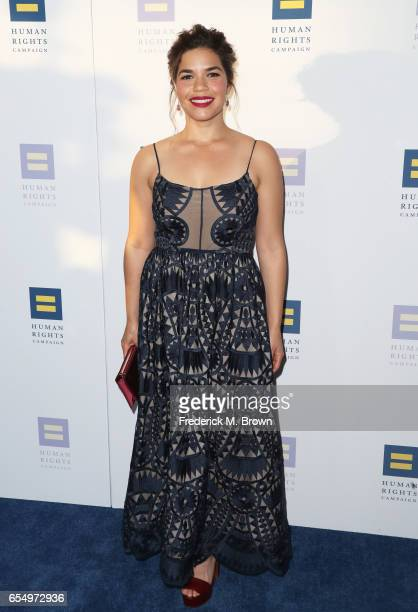 Actor America Ferrera at The Human Rights Campaign 2017 Los Angeles Gala Dinner at JW Marriott Los Angeles at LA LIVE on March 18 2017 in Los Angeles...