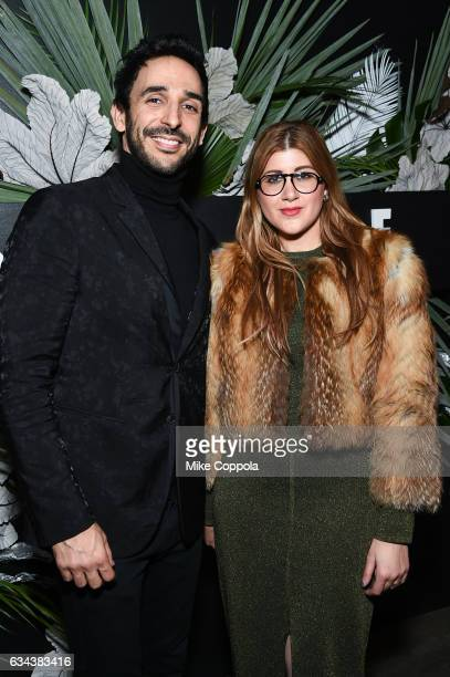 Actor Amir Arison and fashion stylist Engie Hassan attend ELLE E and IMG New York Fashion Week February 2017 KickOff Event on February 8 2017 in New...