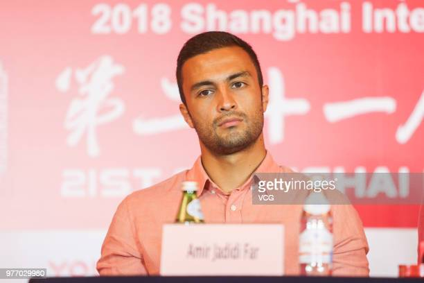 Actor Amir Jadidi Far attends a press conference of Iranian film 'Hattrick' during the 21st Shanghai International Film Festival on June 17 2018 in...