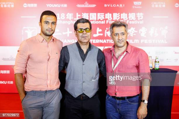 Actor Amir Jadidi Far director Ramtin Lavafi Pour and Ali Haji Ghasemi attend a press conference of Iranian film 'Hattrick' during the 21st Shanghai...