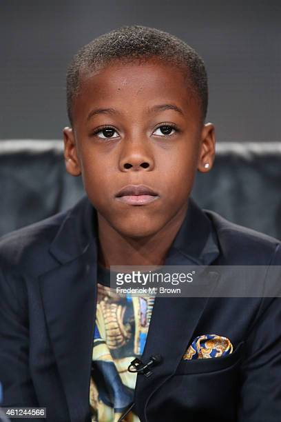 Actor Amir O'Neal speaks onstage during the 'White Water' panel at the TV One Network portion of the 2015 Winter Television Critics Association press...