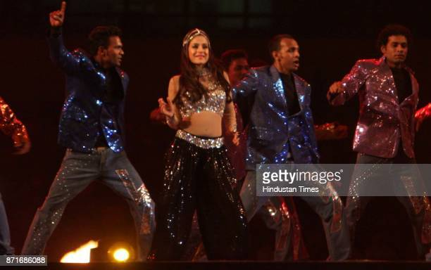 Actor Amisha Patel performs during the inaugural function of the 34th National Games at Birsa Munda Athletic stadium in Ranchi