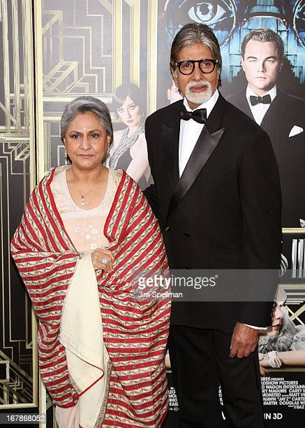Actor Amitabh Bachchan and Jaya Bhaduri attend the The Great Gatsby world premiere at Avery Fisher Hall at Lincoln Center for the Performing Arts on...