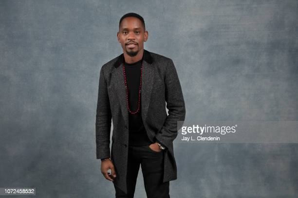 Actor Aml Ameen from 'Yardie' is photographed for Los Angeles Times on January 20 2018 in the LA Times Studio at Chase Sapphire on Main during the...