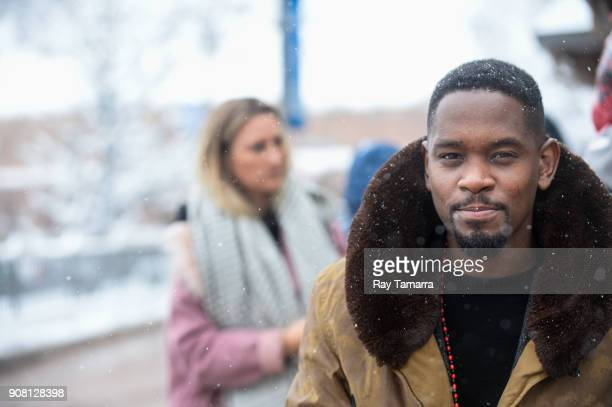 Actor Aml Ameen walks in Park City on January 20 2018 in Park City Utah