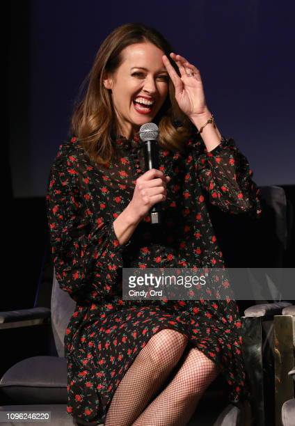 Actor Amy Acker speaks onstage at the The Gifted screening during SCAD aTVfest 2019 at SCADshow on February 8 2019 in Atlanta Georgia
