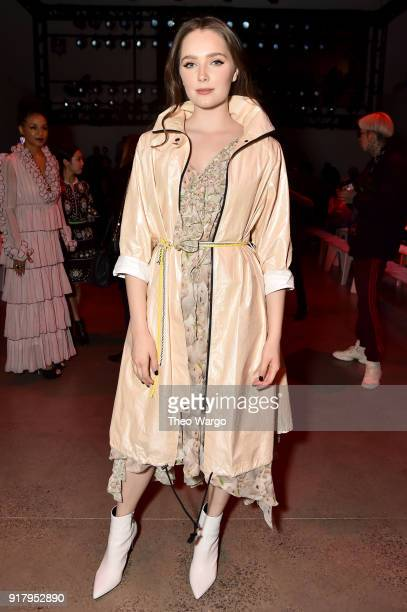 Actor Amy Forsyth attends the Vivienne Tam front row during New York Fashion Week The Shows at Gallery I at Spring Studios on February 13 2018 in New...