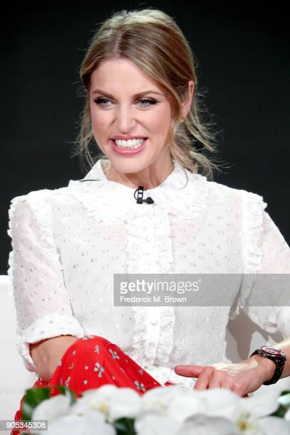 Actor Amy Huberman of 'Striking Out' speaks onstage during the Acorn TV portion of the 2018 Winter Television Critics Association Press Tour at The...