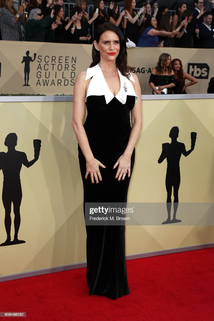 Actor Amy Landecker attends the 24th Annual Screen Actors Guild Awards at The Shrine Auditorium on January 21, 2018 in Los Angeles, California. 27522_017