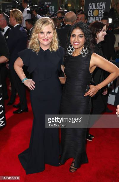 Actor Amy Poehler and activist Saru Jayaraman celebrate The 75th Annual Golden Globe Awards with Moet Chandon at The Beverly Hilton Hotel on January...