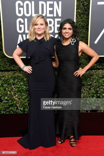 Actor Amy Poehler and Saru Jayaraman attend The 75th Annual Golden Globe Awards at The Beverly Hilton Hotel on January 7 2018 in Beverly Hills...