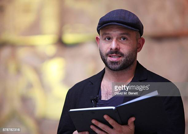 Actor Anatol Yusef reads 'Poets Warriors' by Gabriele Tinti at The British Museum on July 22 2016 in London England