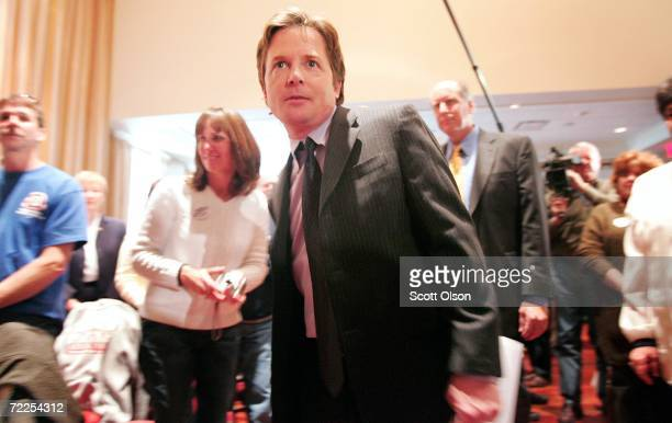 Actor and activist Michael J Fox arrives at a campaign event for Sixth congressional district Democratic Candidate Tammy Duckworth October 24 2006 in...