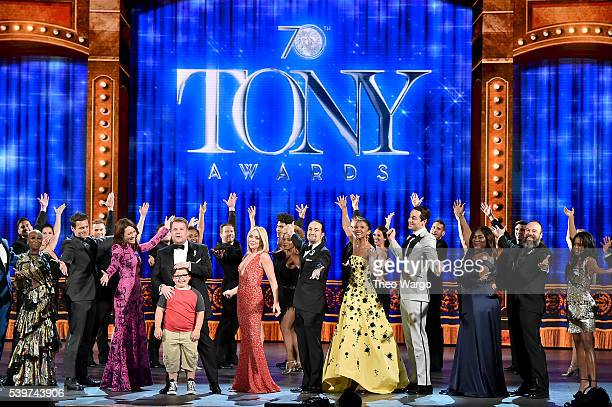 Actor and actress nominees perform onstage with host James Corden during the 70th Annual Tony Awards at The Beacon Theatre on June 12 2016 in New...