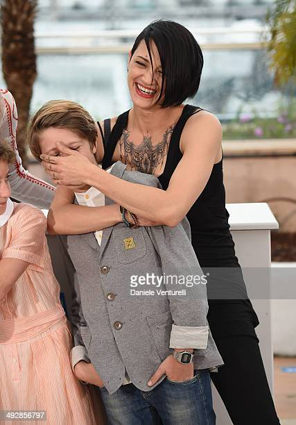 Actor and Andrea Pittorino Director Asia Argento and young actor attend the 'Incompresa' photocall during the 67th Annual Cannes Film Festival on May...