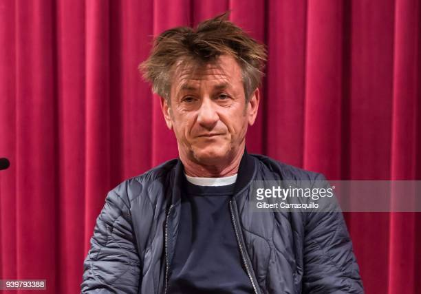 Actor and author Sean Penn discusses his new book 'Bob Honey Who Just Do Stuff: A Novel' at Free Library of Philadelphia on March 29, 2018 in...
