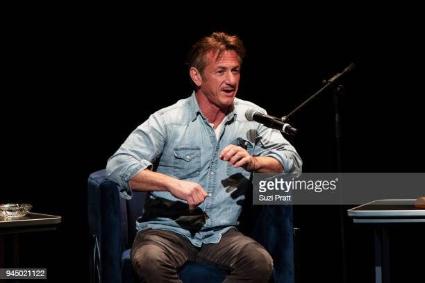 Actor and author Sean Penn discusses his new book 'Bob Honey Who Just Do Stuff A Novel' at The Moore Theatre on April 11 2018 in Seattle Washington