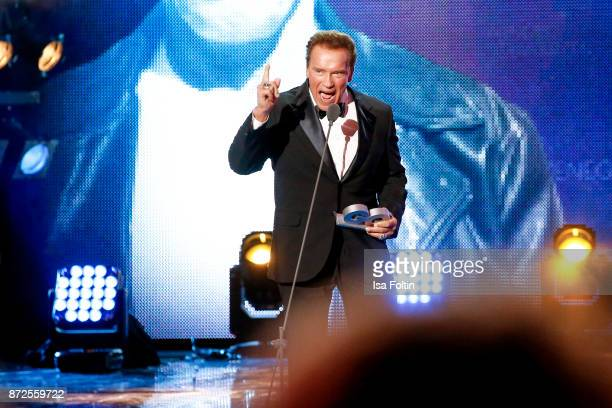 US actor and award winner Arnold Schwarzenegger live on stage at the GQ Men of the year Award 2017 show at Komische Oper on November 9 2017 in Berlin...