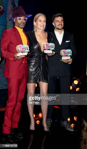 US actor and award winner Billy Porter US actress and award winner Sharon Stone and influencer and award winner Mariano Di Vaio are seen on stage...