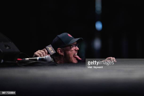 Actor and Beadle & Grimm's co-founder Matthew Lillard sticks his tongue out on stage while impersonating a shark during ACE Comic Con on June 22,...