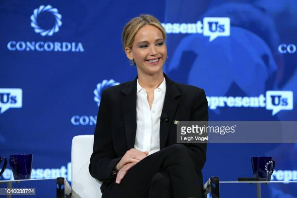 Actor and Board Member of RepresentUs Jennifer Lawrence speaks onstage during the 2018 Concordia Annual Summit - Day 2 at Grand Hyatt New York on...