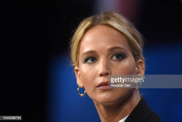 Actor and Board Member of RepresentUs Jennifer Lawrence speaks onstage during the 2018 Concordia Annual Summit Day 2 at Grand Hyatt New York on...
