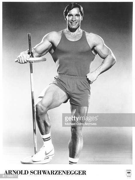 Actor and bodybuilder Arnold Schwarzenegger poses for a Columbia Records publicity photo in June 1984