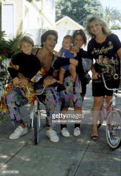 Actor and bodybuilder Lou Ferrigno poses for a portrait with his wife Carla Green and their three children Shanna Ferrigno Louis Ferrigno Jr and the...