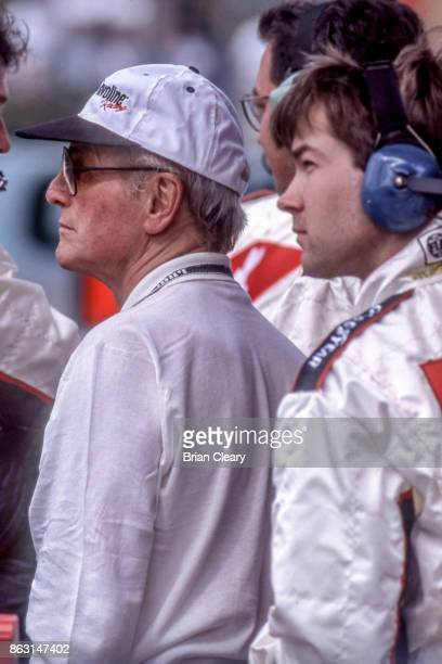 Actor and car owner Paul Newman watches the action from the pits during the Marlboro Grand Prix of Miami IRL IndyCar race at Homestead Miami Speedway...