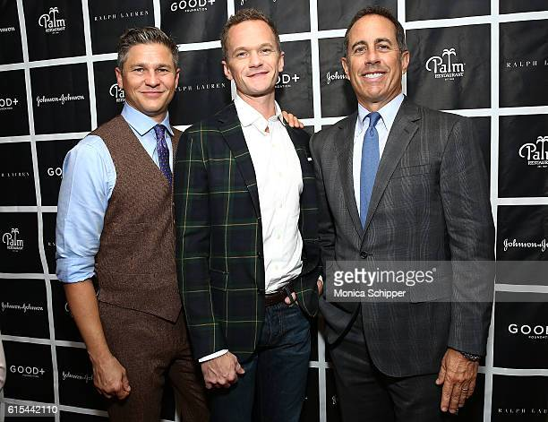 Actor and chef David Burtka actor Neil Patrick Harris and comedian and host Jerry Seinfeld attend the New York Fatherhood Lunch to benefit the GOOD...