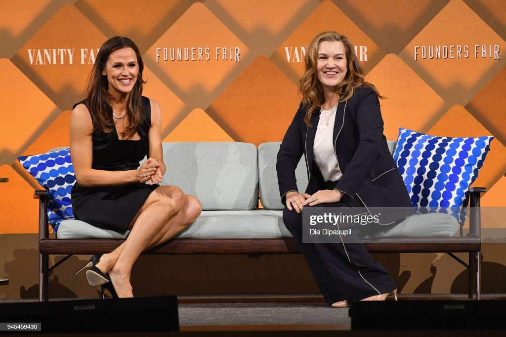 Actor and Co-Founder and Chief Brand Officer of Once Upon a Farm Jennifer Garner (L) and Vanity Fair Executive West Coast Editor Krista Smith speak onstage during Vanity Fair's Founders Fair at Spring Studios on April 12, 2018 in New York City.