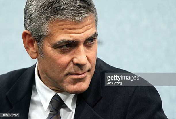 Actor and cofounder of Not On Our Watch George Clooney attends an event at the Council on Foreign Relations October 12 2010 in Washington DC Clooney...
