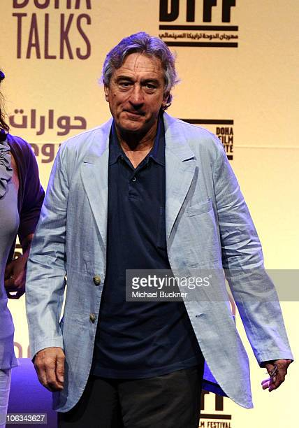 Actor and cofounder of the Tribeca Film Festival Robert De Niro speaks at the Doha Talks DFI's OneMinute Film Screening during the 2010 Doha Tribeca...