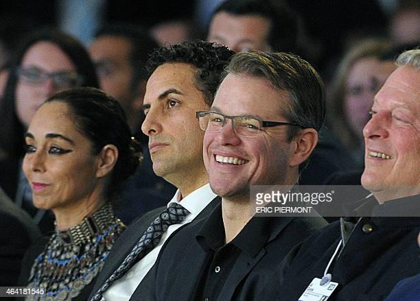 US actor and cofounder of Waterorg Matt Damon flanked other winners IranianAmerican artist Shirin Neshat and Peruvian tenor Juan Diego Florez founder...
