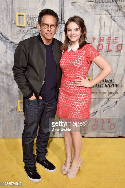 "Actor and Comedian Ben Stiller and Ella Olivia Stiller attend the New York City premiere of National Geographic Documentary Films' ""Free Solo"" at..."