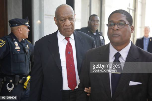 TOPSHOT Actor and comedian Bill Cosby comes out of the Courthouse after the verdict in the retrial of his sexual assault case at the Montgomery...