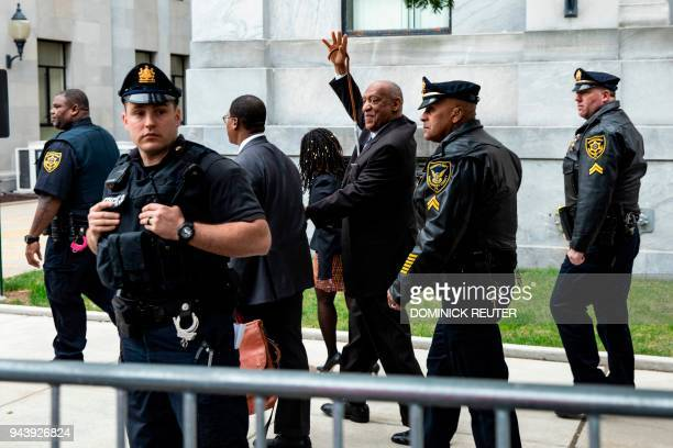 Actor and comedian Bill Cosby departs after the first day of his retrial for his sexual assault case at the Montgomery County Courthouse in...
