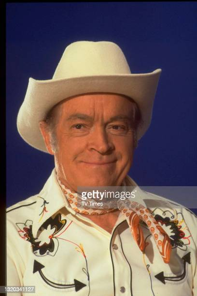Actor and comedian Bob Hope dressed as a cowboy on the set of The Muppet Show at Elstree Studios, Hertfordshire, circa 1978.
