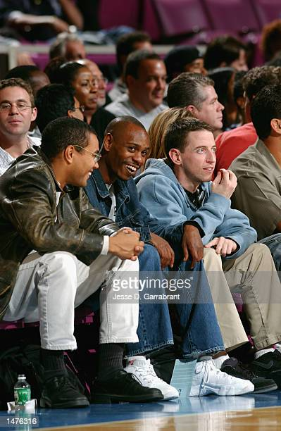 Actor and comedian David Chappelle attends a preseason game between the San Antonio Spurs and the New York Knicks on October 10 2002 at Madison...