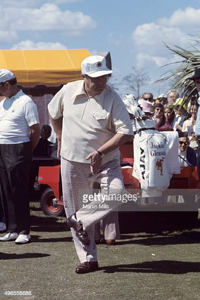Actor and comedian Jackie Gleason hams it up during Jackie Gleason's Inverrary Classic golf tournament in Lauderhill, Florida.