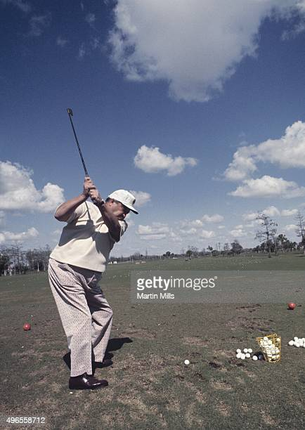 Actor and comedian Jackie Gleason on the practice tee during Jackie Gleason's Inverrary Classic golf tournament in Lauderhill, Florida.