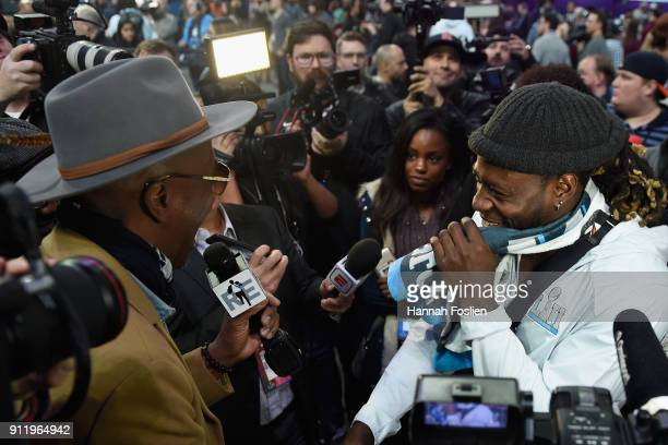 Actor and comedian JB Smoove interviews Jay Ajayi of the Philadelphia Eagles during SuperBowl LII Media Day at Xcel Energy Center on January 29 2018...