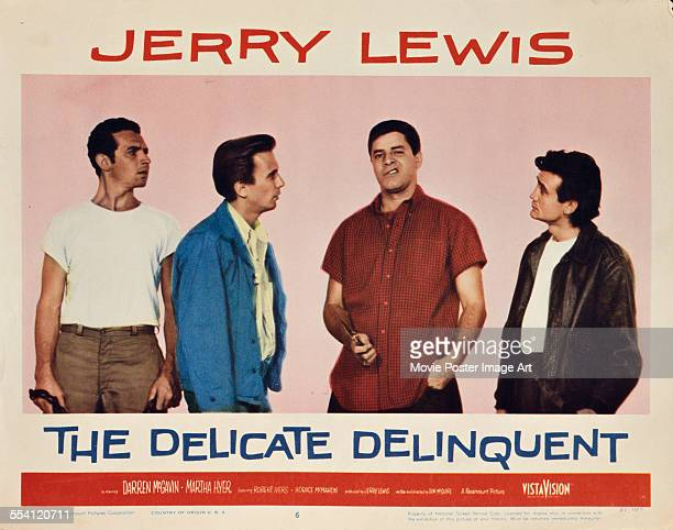 Actor and comedian Jerry Lewis appears with Robert Ivers Richard Bakalyan and Joe Corey on a US lobby card for the Paramount Pictures film 'The...
