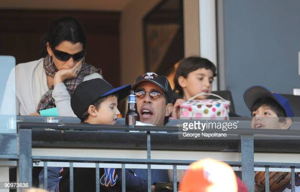 Actor and comedian Jerry Seinfeld with wife Jessica and children watch the New York Mets game against the Washington Nationals on September 19 2009...