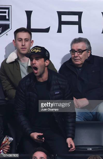 Actor and Comedian Josh Peck cheers for the Los Angeles Kings during the second period of the game against the Winnipeg Jets at STAPLES Center on...