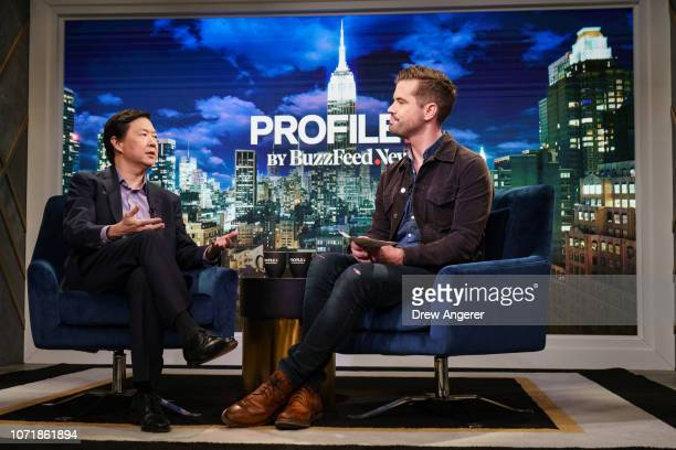 Actor and comedian Ken Jeong is interviewed by deputy director of breaking news David Mack on the set of the BuzzFeed News Profile show at BuzzFeed...