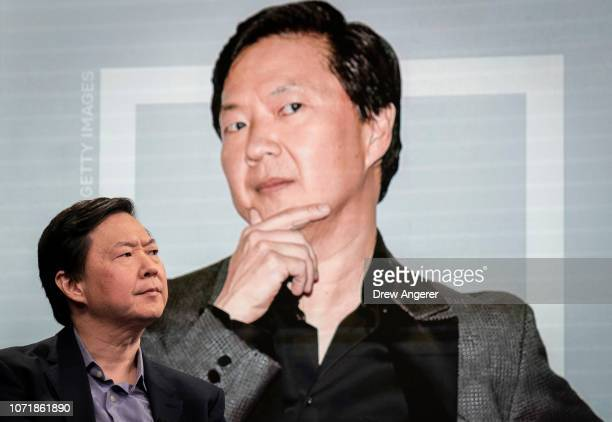 Actor and comedian Ken Jeong sits for an interview on the set of the BuzzFeed News Profile show at BuzzFeed headquarters December 11 2018 in New York...