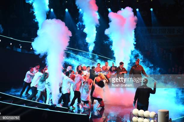 Actor and comedian Kevin Hart performs during player introductions for the NBA All-Star Game as a part of 2018 NBA All-Star Weekend at STAPLES Center...