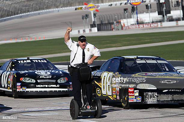 WORTH TX JANUARY 14 Actor and comedian Kevin James celebrates after racing NASCAR stock cars with his Segway to promote the release of his new movie...